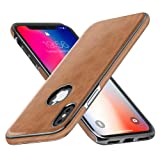iPhone X Case, iPhone 10 Leather Cover MIRACASE Luxury Stylish Sleeves Ultra Slim & Thin Soft TPU Bumper Anti-Slip Scratch Resistant Shockproof Shell for Men, Brown (Color: Brown)