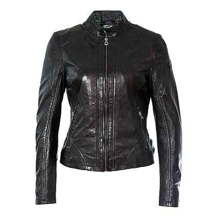 Gipsy Damen Lederjacke Bikerjacke Übergangsjacke Schwarz Echtleder Stehkragen Tailliert Gr. S - XL