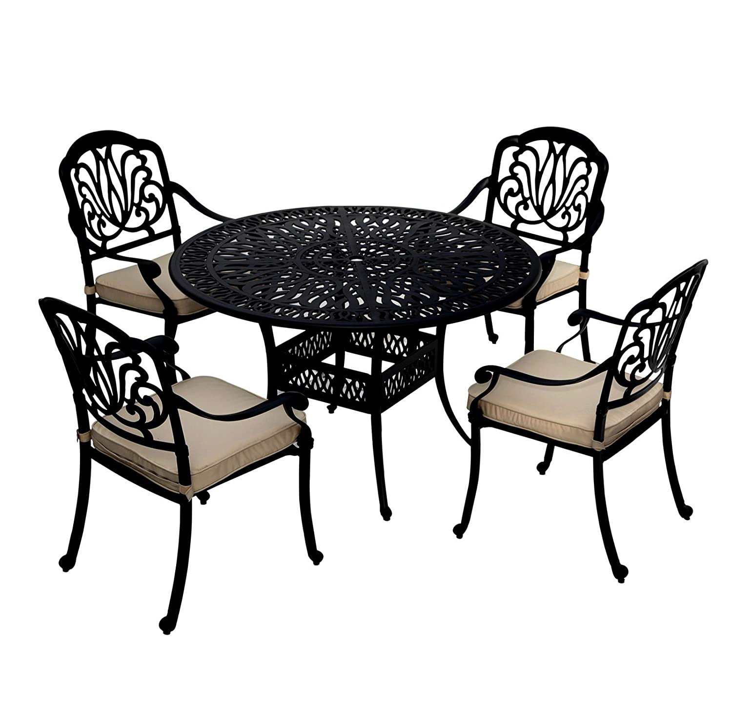 bentley garden sitzgruppe mit 4 st hlen aluminiumguss f r garten terrasse schwarz. Black Bedroom Furniture Sets. Home Design Ideas