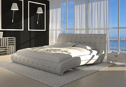 SAM® Polsterbett Bett Vederi in weiß 160 x 200 cm Kopfteil im abgesteppten modernen Design abgesteppt Ziersteine Wasserbett geeignet