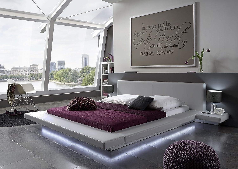 exklusives Design Lederbett 200 x 200cm grau mit LED Leiste jetzt bestellen