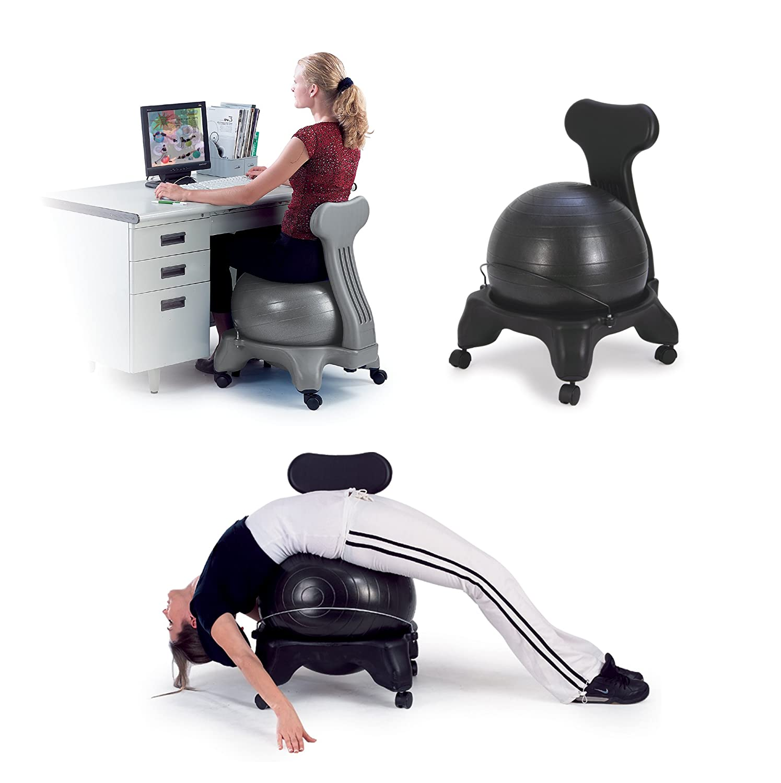 Exercise Ball Chair Base Balance Fit Chair Ball Pump Sivan Health Fitness Ease into an ...