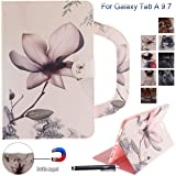 Galaxy Tab A 9.7 Case, Newshine Portable Type PU Leather Standing Cover Protective Folio Case with Card Slots for Samsung Galaxy Tab A 9.7 inch SM-T550 Tablet 2015 Release, Magnolia (Color: 1 Magnolia)