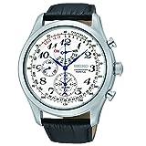 Seiko Men's SPC131P1 Neo Classic Alarm Perpetual Chronograph White Dial Black Leather Strap Watch (Color: Silver)