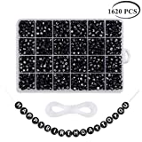 1620 Pieces A-Z Letter Beads, 7x4mm Sorted Alphabet Beads and Black Acrylic Letter Bead kit, Vowel Letter Beads for Jewellery Making Kids&Crafts&Name Bracelets (Color: Black(1620PC))