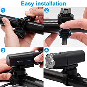 YoJetSing Bike Front Light - 800 Lumen Bike Light - USB Rechargeable - IP67 Waterproof Bicycle Lamp - 85° Floodlight Angle Cycling Headlight for Road, Mountain, Commuter Bicycles (Color: Black)