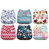 Mama Koala One Size Baby Washable Reusable Pocket Cloth Diapers, 6 Pack with 6 One Size Microfiber Inserts (My Sweetest Heart) (Color: My Sweetest Heart, Tamaño: One Size)