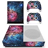 SKINOWN Skin Sticker for Microsoft Xbox One S Slim Console and Two Controllers (Pink-Blue Starry) (Color: Pink-Blue Starry)