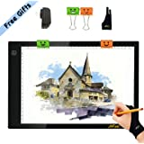 JHFart A4 Light Table Light Box Tracer Memory Function Led Light Pad Drawing Board Artcraft Tattoo Watercolour Copy Quilting Tracing Diamond Painting Xray Pad w/ Clips Glove and Certified USB Adapter