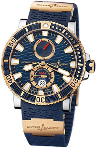 New Mens Ulysse Nardin Maxi Marine Diver Titanium 18K Rose Gold Blue Automatic Watch 265-90-3/93