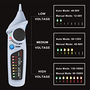 Bside Electric Tester Pen Non-Contact Voltage Detector Power Socket Wall Plug AC Voltage Sensor Dual Mode 12V-1000V Freely Adjustable Sensitivity Live Line Check with 8 LED Indicators (Color: Industrial Gray, Tamaño: Pocket Size)