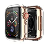 Smiling Apple Watch 4 Clear Case With Buit in TPU Screen Protector 40mm - All Around Protective Case High Definition Clear Ultra-Thin Cover Apple iwatch 40mm Series 4(2 pack) (Color: Clear, Tamaño: 40mm)