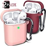 Compatible with AirPod Case Cover, (2 Pack) Cover for Airpods Case (Pink&Wine Red)