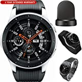 Samsung Galaxy Watch Smartwatch 46mm Stainless Steel Silver (SM-R800NZSAXAR) Wireless Charging Base Dock, 5pc Nylon Replacement Straps, Tempered Glass & 1 Year Extended Warranty (Tamaño: Galaxy Watch (46mm) Silver Kit)
