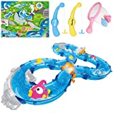 iBaseToy Fishing Game Toy Set for Kids - Includes Winding Track You Fill with Water, 2 Fishing Rods, 6 Floating Fish, 1 Net and More - Education Gift for Toddlers Boys Girls for Bathtime or Pool Party