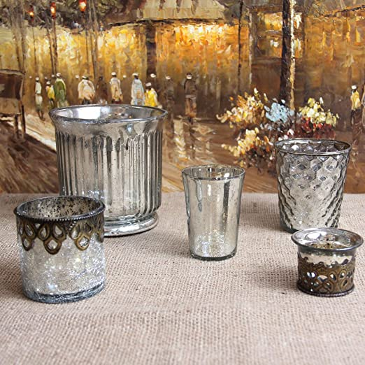 Shabby Cottage Chic Mercury Glass Votive Set Silver