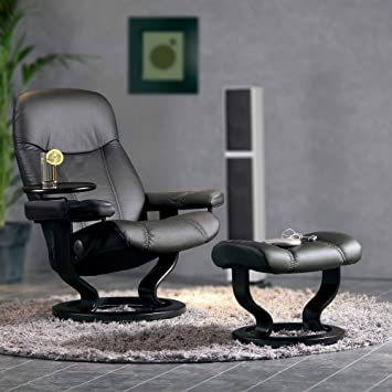 stressless diplomat relaxsessel mit hocker schwarz small amazon. Black Bedroom Furniture Sets. Home Design Ideas