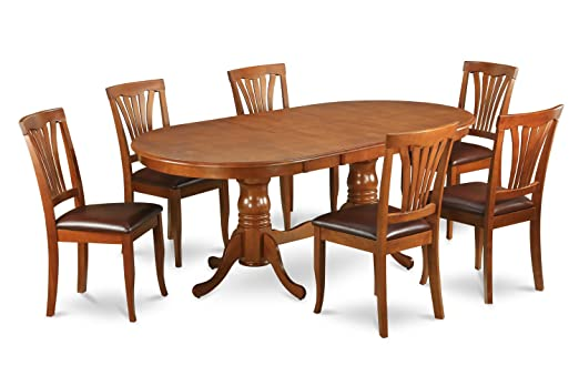 East West Furniture PLAV7-SBR-LC 7-Piece Dining Table Set