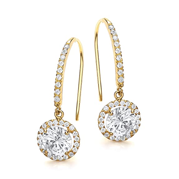 Carissima Gold 9ct Yellow Gold Round Cubic Zirconia Drop Earrings