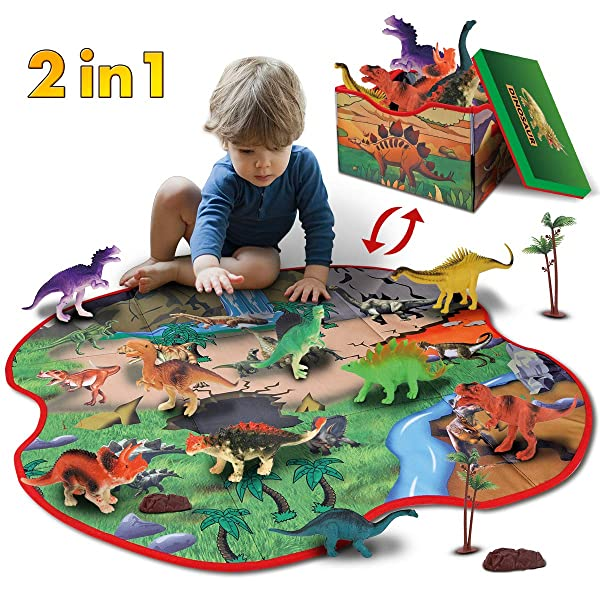 GILOBABY 2 in 1 Dinosaur Toy Storage Box & Playmat with 10 Dinosaurs, 2 Trees and 2 Rocks, Educational Dinosaur Figure Toys, Pretend Play Gifts for Kids Boys Girls