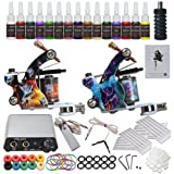 Complete Starter Tattoo Kit 2pcs Coils Tattoo Machine Gun Power Supply Needles Tattoo Inks Grips Tips YMX-001