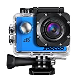 4K Action Camera, SOOCOO C30 Sports Camera 20MP 2.0 Inch Waterproof Diving Camera with 2x1350mAh Batteries and 18 Accessories Kit Included - Blue + Wifi (Micro SD Card Not Included) (Color: Blue)