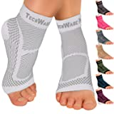 TechWare Pro Ankle Brace Compression Sleeve - Relieves Achilles Tendonitis, Joint Pain. Plantar Fasciitis Foot Sock with Arch Support Reduces Swelling & Heel Spur Pain. (White, S/M) (Color: White, Tamaño: S / M)