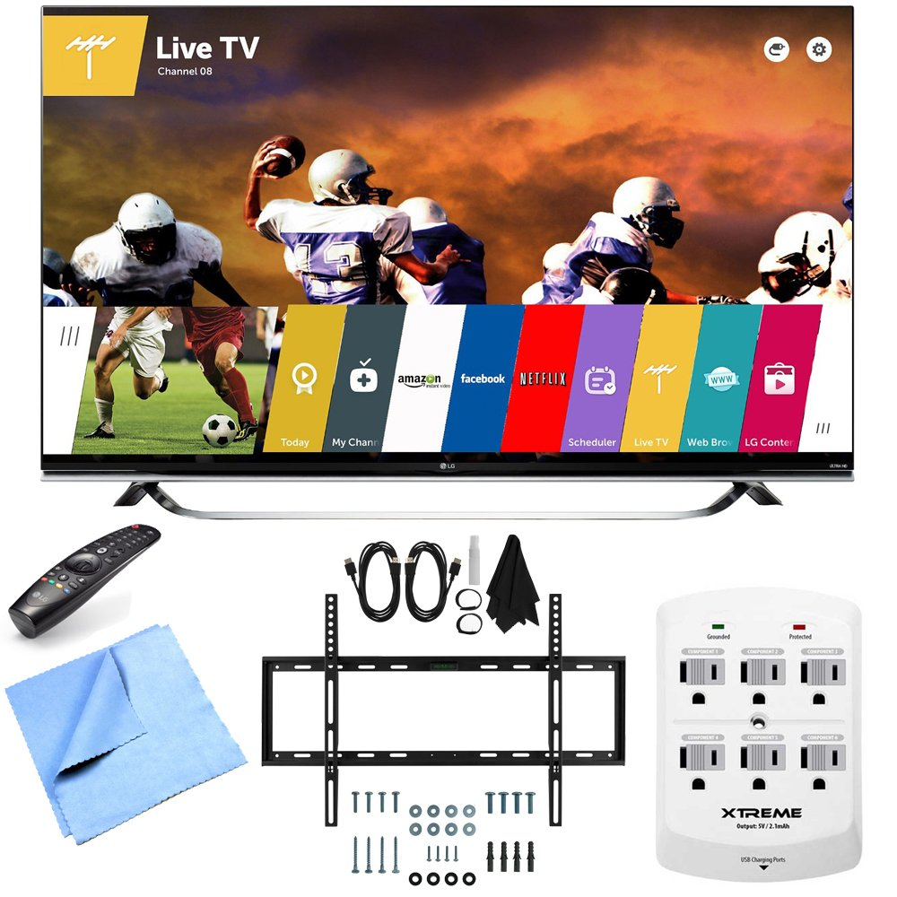 LG 60UF8500 - 60-Inch 2160p 240Hz 3D 4K LED UHD TV w/ WebOS Mount & Hook-Up Bundle includes 60UF8500 - 60-Inch 2160p 240Hz 3D 4K Ultra HD LED UHD Smart TV, Slim Flat Wall Mount Kit, 6 Outlet Wall Tap w/ 2 USB Ports and Microfiber Cloth
