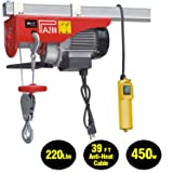 EVERDRAGON 440 LBS Power Lift Electric Hoist, Overhead Crane Commercial Industrial Chain Remote Control Power System, Winch Wire Cable Hoist Garage Auto Shop W/Remote Control (120V/460W/3.9A/60Hz) (Color: Red, Tamaño: 220/440lbs)