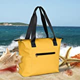 Miracase large beach bag, Waterproof Beach Bag Tote with Zipper Waterproof Lining for Beach Gym Hiking Picnic Travel (Yellow) (Color: Yellow, Tamaño: X-Large)