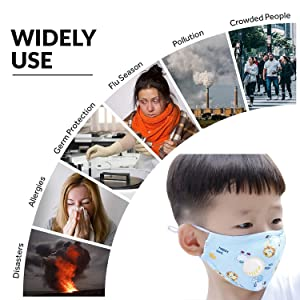 (Mask+10Pcs Filters) Kids Anti Pollution Mask Reusable Mouth Mask Washable Cotton Activated Carbon N95 Filters Cartoon Dustproof for Outdoor Activities (Color: Mask+10Pcs filters(8Pcs adult+2Pcs children), Tamaño: one size)