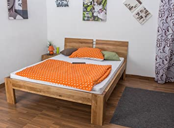Double Bed Wooden Nature 89, solid wild oak, oiled - 180 x 200 cm