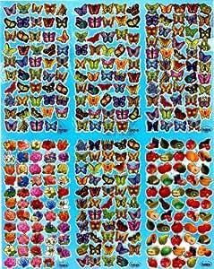 200+ Buttlerfly Roses & Veggie STICKER SHEET TM008 ~ great children's reward sticker