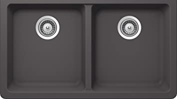 SCHOCK ALIN200YU041 ALIVE Series CRISTALITE 50/50 Undermount Double Bowl Kitchen Sink, Basalt