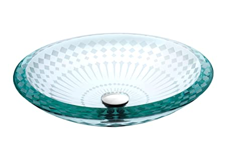 Lenova GV-08 Glass Vessel Round Sink, Clear
