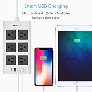 9.8ft USB Power Strip Surge Protector - JACKYLED Flat Plug Long Extension Cord 4 USB Ports 6 Outlets Fast Charge Electric Outlet Fireproof Desktop Charger Compatible with Phone Computer Laptop -White (Color: White, Tamaño: 6 outlets+4 USB ports)