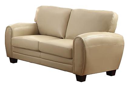 Homelegance 9734TP-2 Upholstered Loveseat, Taupe Bonded Leather Match
