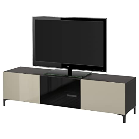 IKEA BESTA - TV bench with drawers and door Black-brown/selsviken high-gloss/beige smoked glass