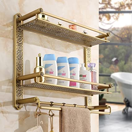 Scaffali da bagno Racchetta di tovagliolo di bagno antico Raffreddamento di tovaglia di lusso del bagno di rack di stoccaggio del bagno di stile europeo ( dimensioni : 50cm )