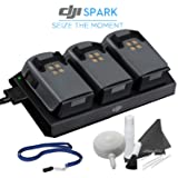DJI Spark Accessory Kit: 3x Spark Drone Intelligent Flight Battery Packs with Charger & Hub Bundle
