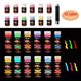 HXDZFX Glow in The Dark Paint UV Paint(Set of 12 Bottles 20g. Each) Safe Non-Toxic for Slime,Nails,Epoxy Resin,Acrylic Paint,Halloween,Fine Art and DIY Crafts (Color: 12 Colors Glow Paint + UV Lamp)