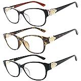 Reading Glasses 3 Pack Great Value Quality Readers Fashion Crystal design Reading glasses women +2.75 (Color: Set of Shiny Black, Black Inside Brown, Havana)