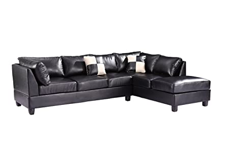 Glory Furniture G643-SC Sectional Sofa, Black, 2 boxes