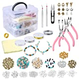 PP OPOUNT Jewelry Making Supplies Kit Includes Assorted Beads, Charms, Findings, Pliers, Cutters, Tweezers, Bead Wire and Cord, Storage Case for Crafts, Necklaces, Bracelets, Earrings Making