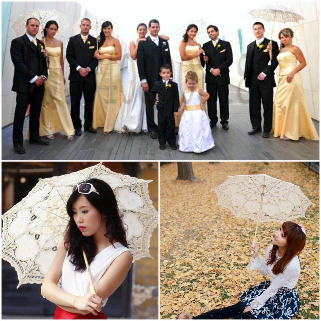 Leegoal Handmade Umbrellas for Bridal Bridesmaid Wedding Decoration, Beige 1