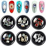 36Pcs AB Color Flat Back Rhinestones, Tingbeauty Crystals Nail Art Rhinestones, Big Mix Sizes 3D Crystal Diamonds Metal Charms Gems Stones for Nail Art Decoration (Tamaño: 6 Boxes)