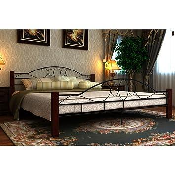 Anself Metallbett Bett Doppellbett Bettgestell Gästebett mit 200 x 140 cm Matratze Schwarz