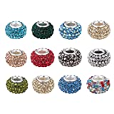 Pandahall 50 PCS 15x10mm Grade A Rhinestone European Beads Large Hole Resin Beads with Silver Brass Core, Mixed Color (Color: Rhinestone-50pcs)