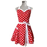Lovely Sweetheart Red Retro Kitchen Aprons Woman Girl Cotton Polka Dot Cooking Salon Pinafore Vintage Apron Dress Christmas (Color: Red, Tamaño: One Size)