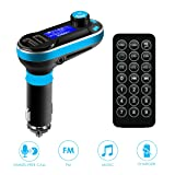 Car Bluetooth FM Transmitter, SOONHUA Wireless In-Car Bluetooth Receiver Stereo Radio Adapter 5in1 Car Kit Music Player Hand-Free Calling Dual USB Support SD/TF Card for iPhone and Samsung (Blue) (Color: Blue)